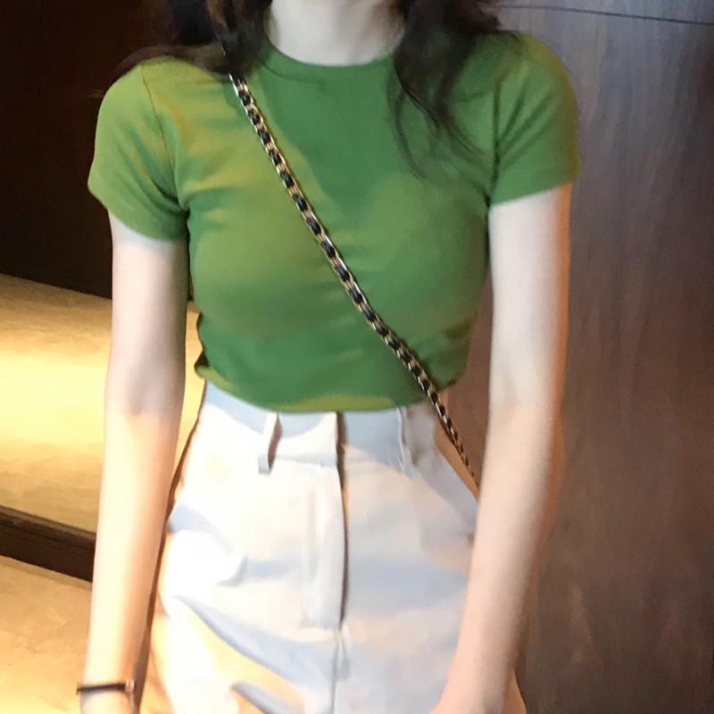 高腰紧身纯色新款女T恤修身款