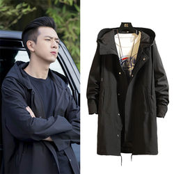 Li Xianhan: KK team's same clothes men's mid long windbreaker, Hooded Coat and thickened coat in autumn and winter