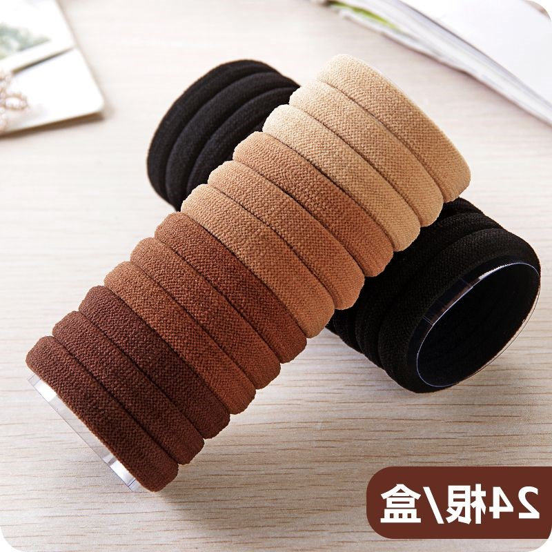 New Korean version without seams tied hair ring hair trim tied hair leather rib headband hair ring hair rope black head 2019