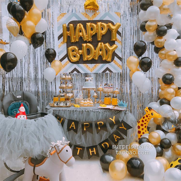 Black gold gray high,end theme baby first birthday decorations arranged  children\u0027s birthday party dessert table banquet
