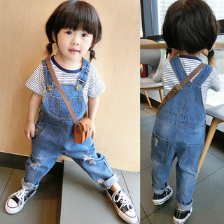 2021 new baby broken dumpling jeans straps pants spring autumn boys and girls can open baby tide