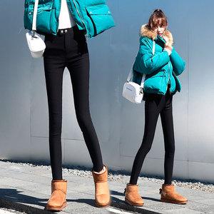 韩国黑色魔术裤女高腰2020加绒打底裤女外穿弹力小脚显瘦小黑裤子