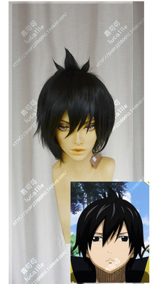 taobao agent Fairy Tail Jeff, hold on top of your head, black fluffy exploding short hair cosplay wig