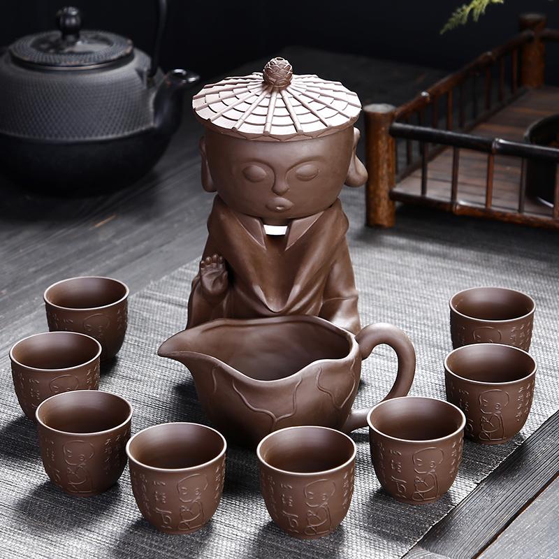 懒人功夫泡茶器复古紫砂半全自动茶具套装陶瓷整套时来运转茶盘