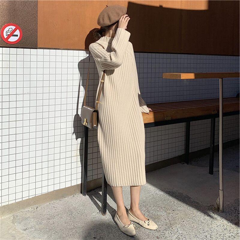 法国小众连衣裙配大衣的长裙子复古过膝中长款针织毛衣裙内搭秋冬-给呗网