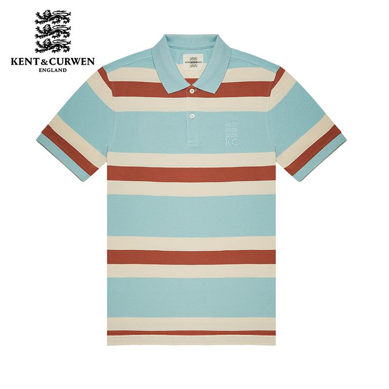 KENT&CURWEN-肯迪文純棉條紋短袖POLO衫