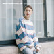 Mostwantedlab Lucky men and women off the shoulder striped long-sleeved sweater loose knit tide couple MWTD
