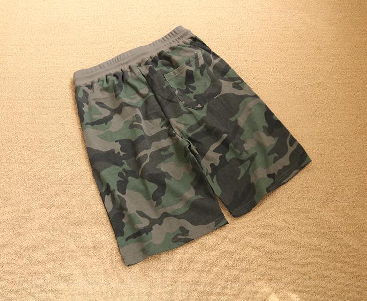 Mùa hè nam cộng với béo cộng với kích thước cotton terry cắt quần lỏng ngụy trang quần short thể thao giản dị mỏng - Quần short