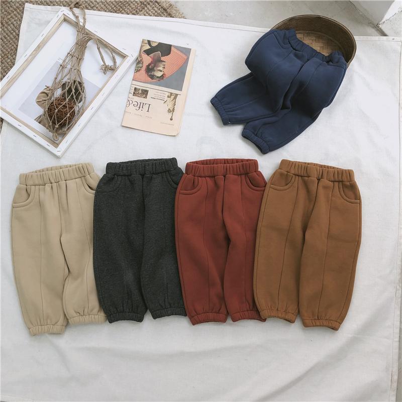 2018韩国冬装儿童裤 男童女童加绒加厚运动卫裤宝宝保暖柔软裤子