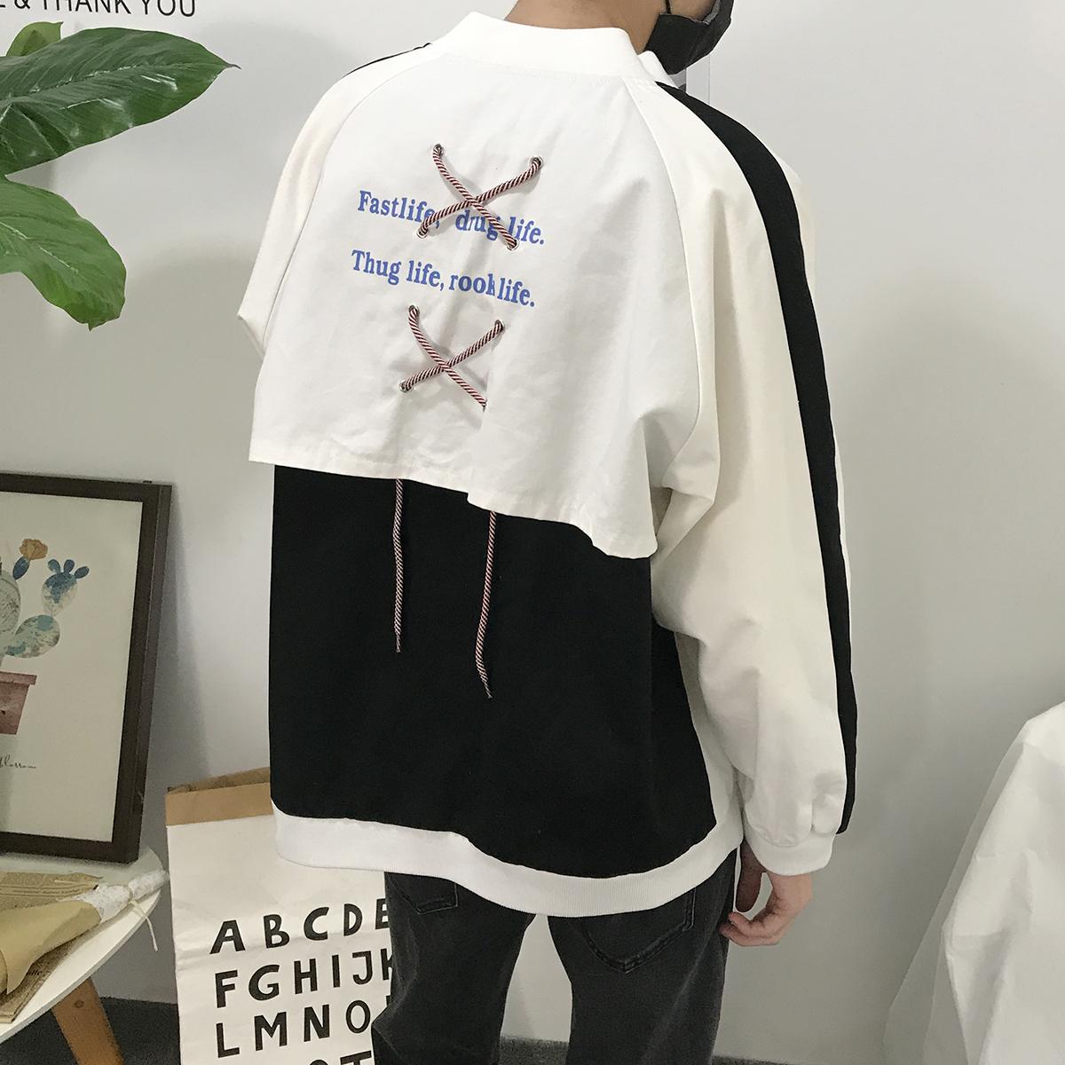 Mùa xuân áo mới nam Hàn Quốc phiên bản của xu hướng đẹp trai màu sắc phù hợp với áo khoác băng trang trí lại dây kéo cá tính đồng phục bóng chày
