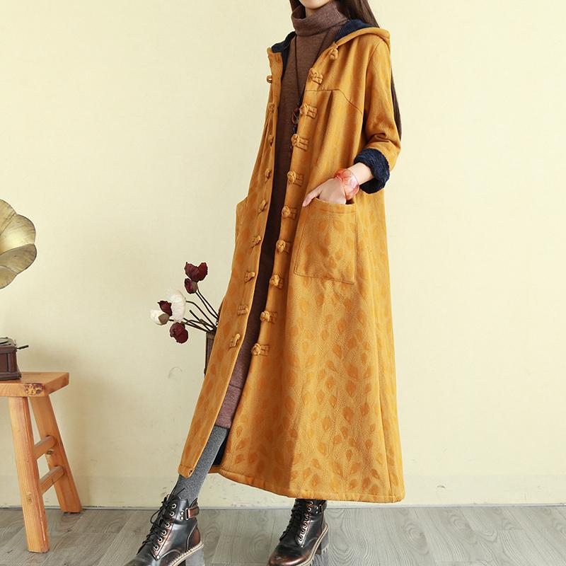 加厚棉服风女装加绒袍子麻棉衣民族复古长款a棉服外套连帽刺绣盘扣