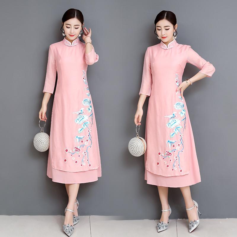 2019 초가을 새로운 실크 대마 복고풍 개선 매일 오스트리아 자수 슬림 패션 치파오 드레스