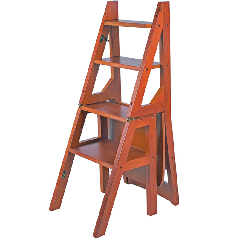 Chair Step Ladder #34 - Solid Wood Home Multi-function Folding Ladder Chair Indoor Mobile Climbing  Ladder Dual-use Four-step ...