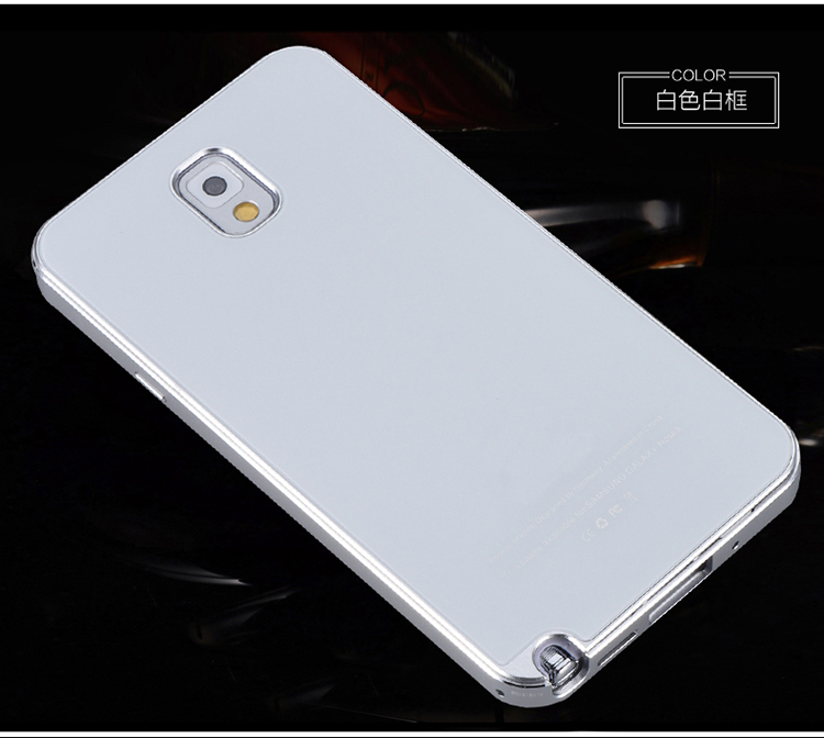 iMatch Aviation Aluminum Alloy Metal Bumper Tempered Glass Back Cover Case for Samsung Galaxy Note 3 N9000