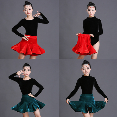 Children's Latin dance dress, autumn winter Latin dance skirt, children's Latin dance performance, velvet long sleeved training suit.