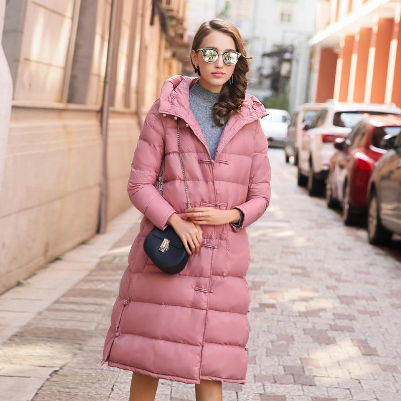 靠谱 原创设计2016冬新款轻薄款羽绒服复古盘扣长款连帽女外套 袍