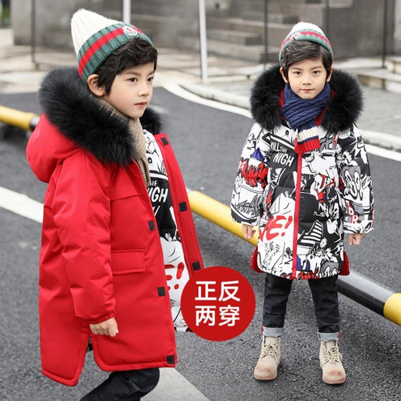 外套棉服两面2019新款羽绒儿童加厚男孩冬装中大童毛领男童棉衣穿