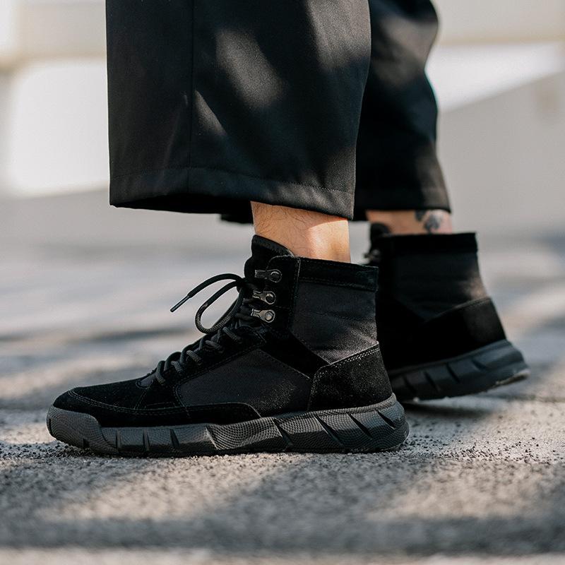 Giày đen nữ mùa thu ngắn Giày nữ 2019 mới đôi giày một người đàn ông một người phụ nữ tất cả màu đen giày cao cấp phụ nữ giày hội đồng quản trị - Giày ống