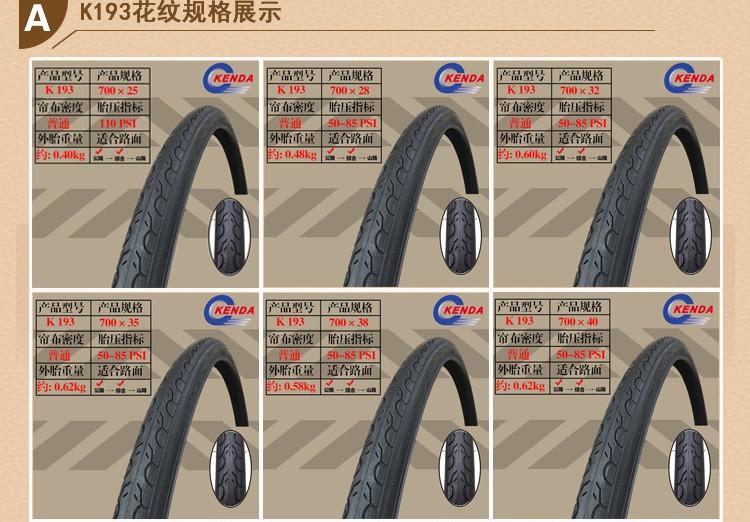 Kenda K193 Clincher Tyre 700*25//28//32//35//40mm 700C Bicycle Tires Road Bike Tyre