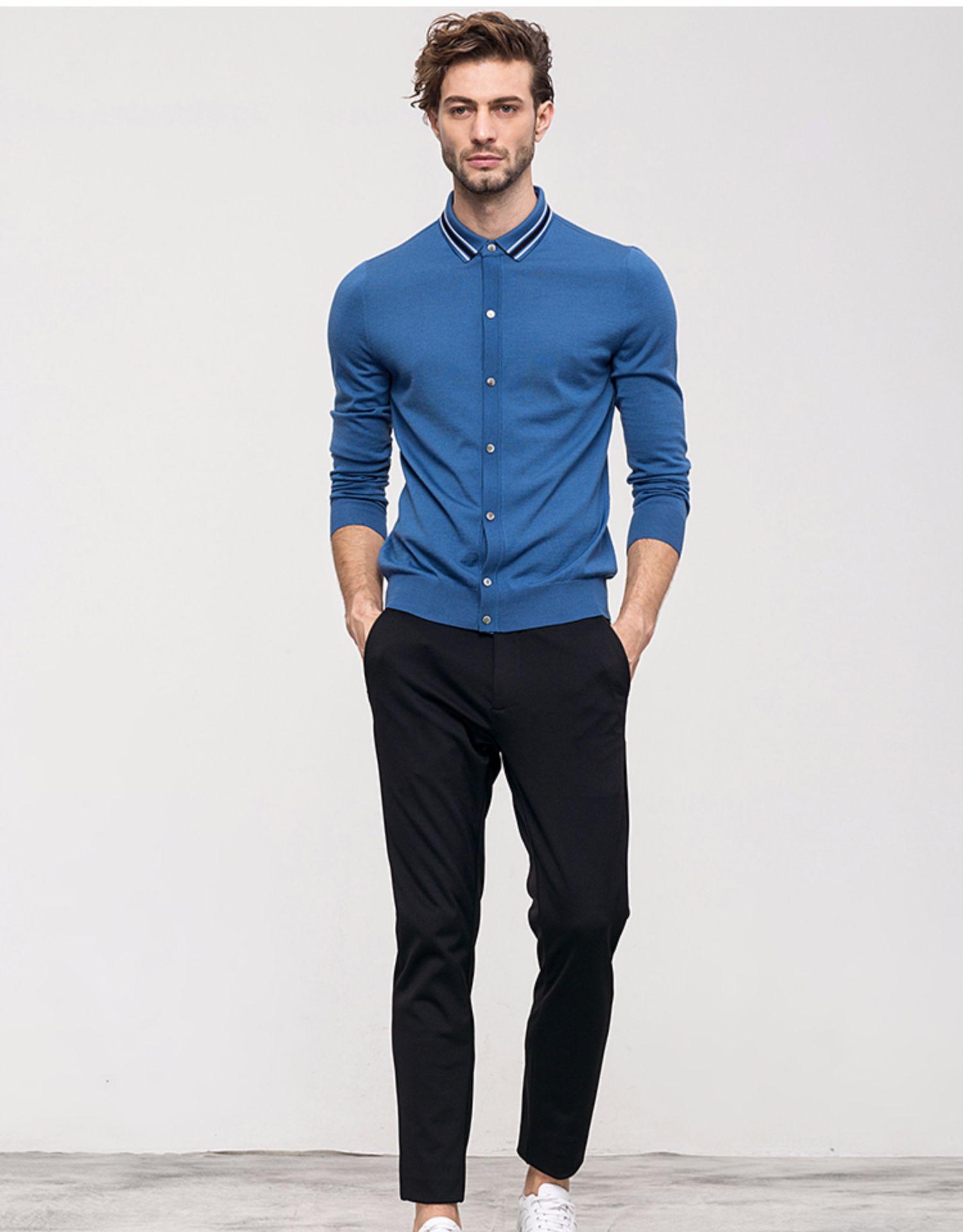 Quần áo nam kinh doanh Merino Full Wool Cổ áo tương phản Áo sơ mi nam Cổ áo len đan cardigan DAZ490 - Hàng dệt kim