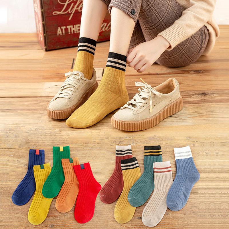 长袜子女中筒袜ins潮秋冬秋天纯棉堆堆袜春秋季女士纯色日系长筒