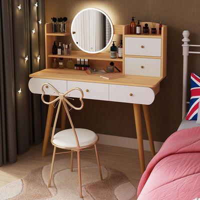 梳妆台北欧书桌简约化妆柜带镜子现代化妆台网红ins收纳一体柜子