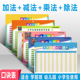 A full set of 6 children's preschool first and second grades, addition, subtraction, multiplication, division, pinyin alphabet, initials, vowels, vowels, and nine-nine formulas, elementary school students, addition, subtraction, multiplication, and division, enlightenment, silent preschool bedroom stickers A4
