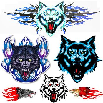 Tram decoration gadget reflective wolf head car sticker electric motorcycle personality reflective decorative decal scratch
