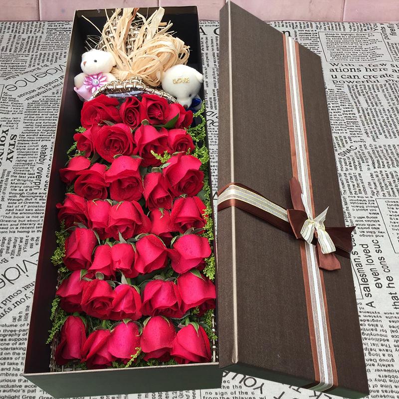 全国同城北京上海红粉香槟玫瑰生日鲜花速递束礼盒成都广州送花店