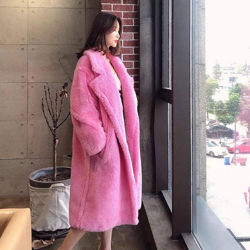 2019 новый осень и зима большой лю волны сун фиолетово-красный в этом же моделье лед остров имитация шерстяной длинная модель пальто мишка шуба пальто женщина 599558082769