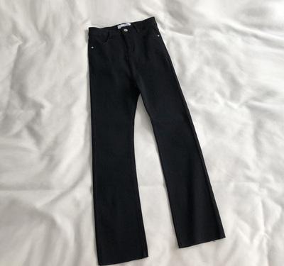 筷子腿!超显瘦好穿弹力高腰黑色微喇裤女新款百搭修身九分裤子春