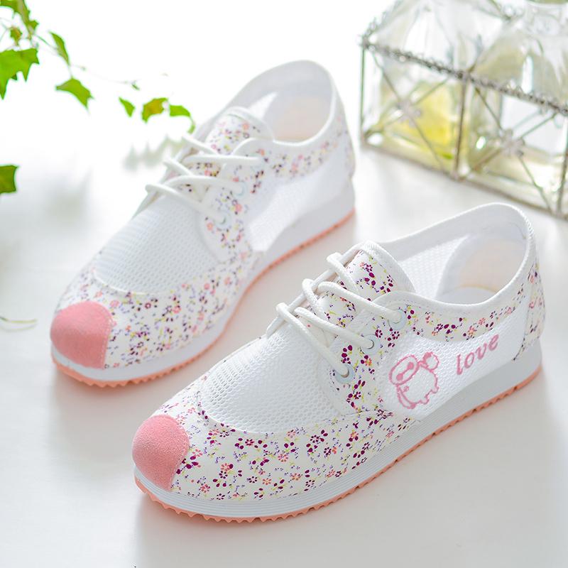 春夏季球鞋鞋女平底网纱镂空单鞋透气v球鞋大童中学生百搭帆布布鞋