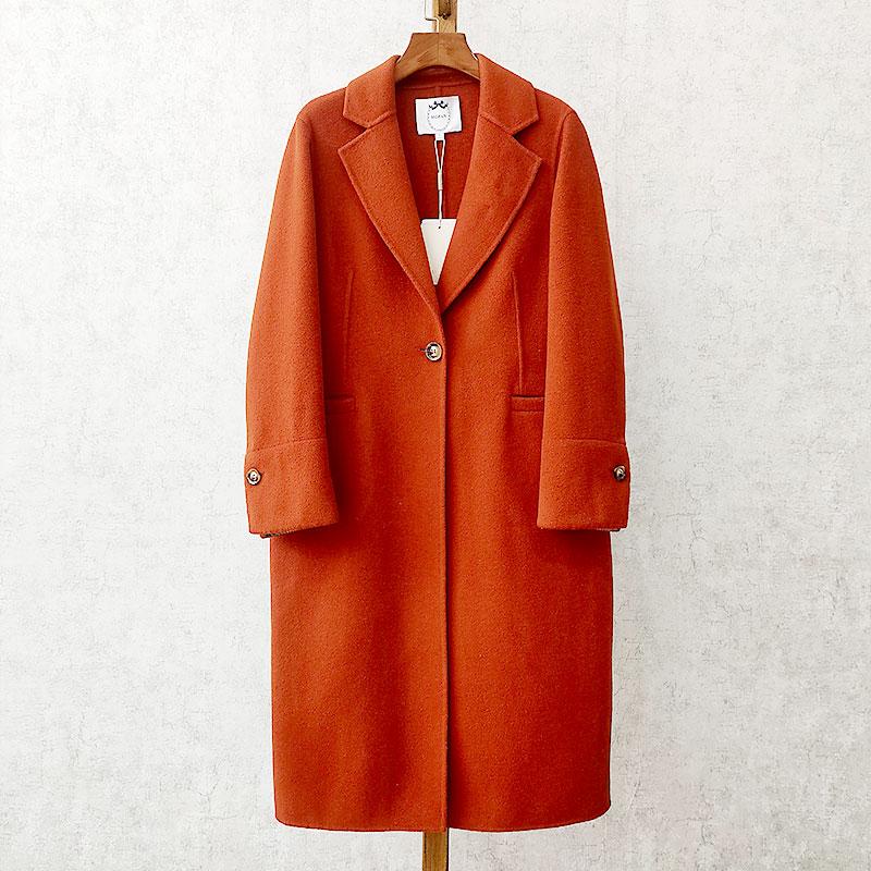 时尚团高端女装 MF 19冬 翻领 宽松长款质感纯羊毛双面呢大衣外套