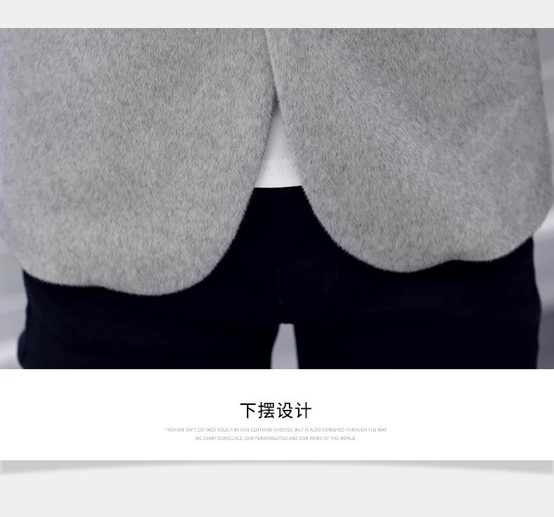 水貂绒呢子夹克男潮流外套男士冬季加绒加厚毛呢短款西装1836-P85