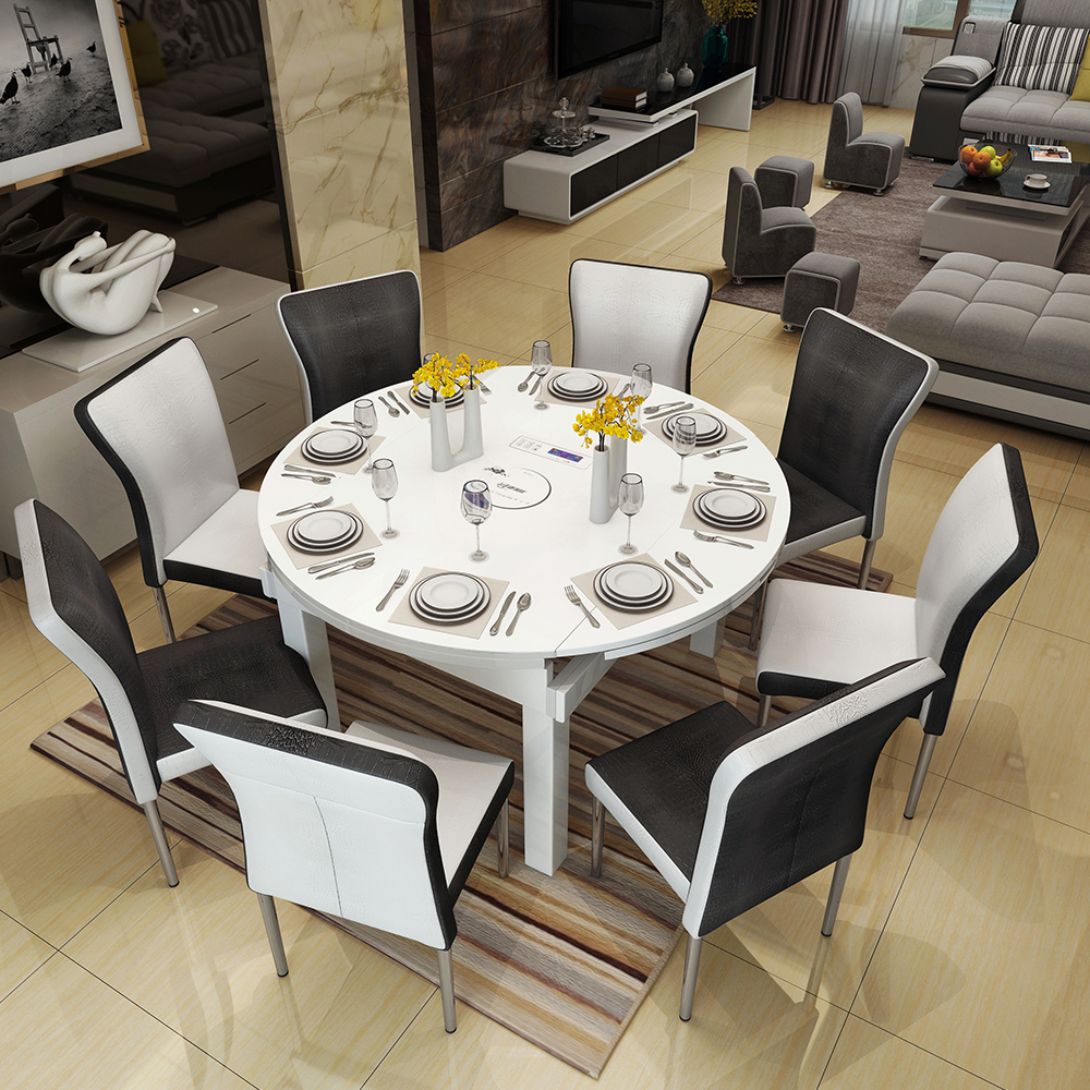 Usd 368 50 Retractable Solid Wood Folding Dining Table Round 6