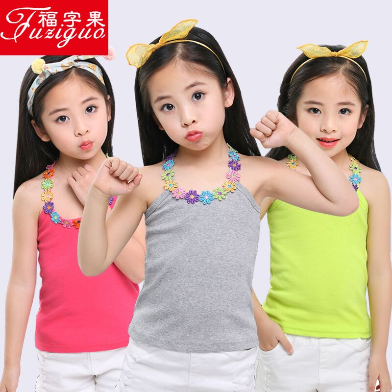 9e86135ced3d Summer thin section children's vest women's cotton girls wearing summer  slings in the big boy little girl bottoming underwear