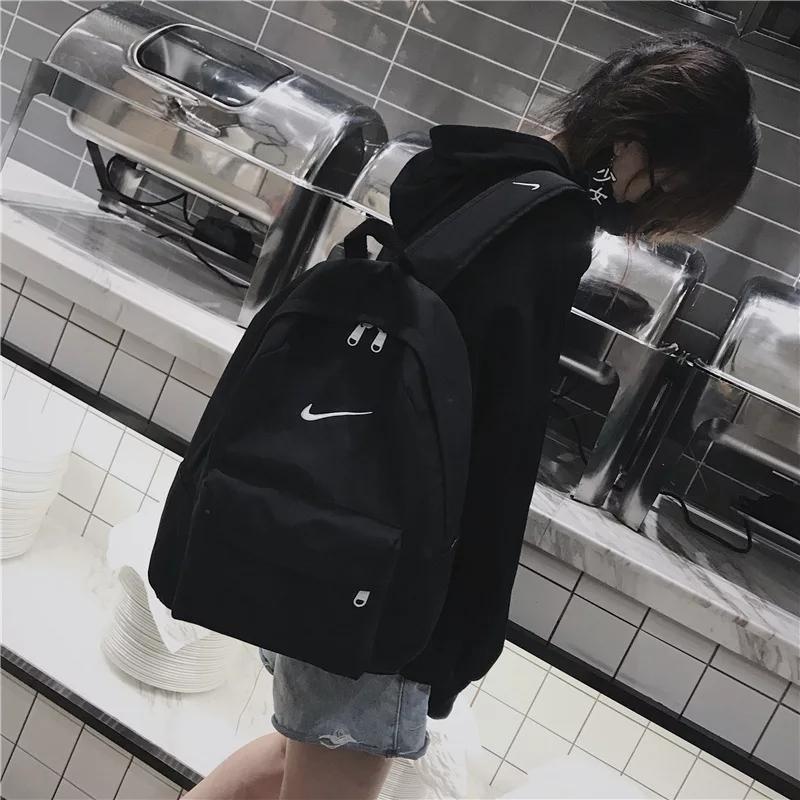 书包女韩版百搭时尚街头风帆布休闲双肩包初中高中学院风大容量