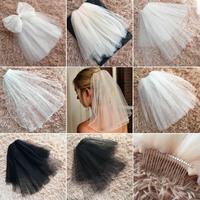 Новая коллекция новый Мама пряжи корейская короткий свадебное Свадебная головная уборка фата супер фея путешествия детские фото белый черный