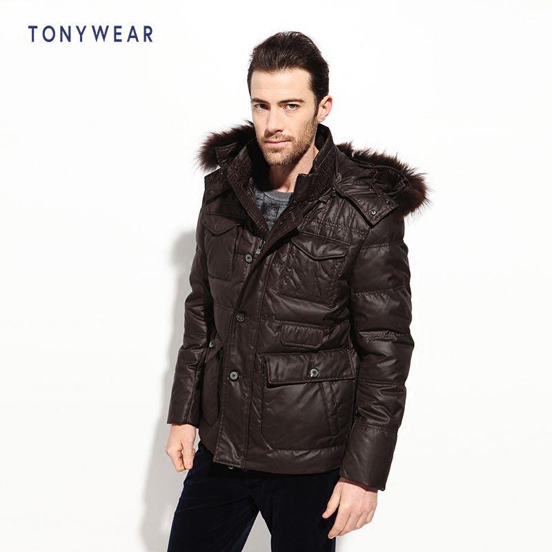TONY WEAR 汤尼威尔 可脱卸帽带毛领 中老年男士羽绒服 天猫优惠券折后¥289包邮(¥389-100)2色可选