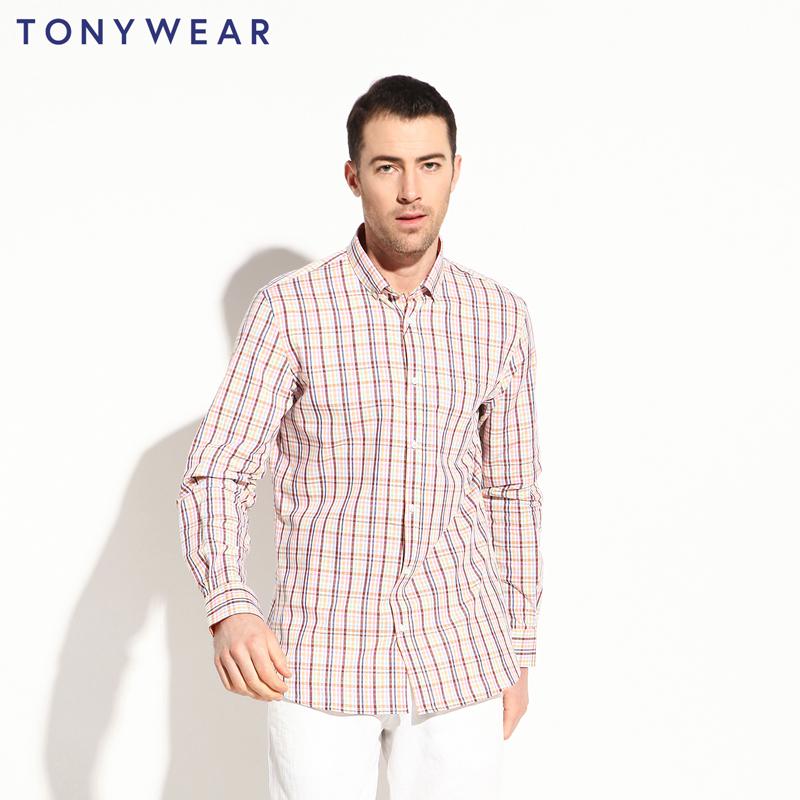 TONY WEAR汤尼威尔男士春秋季商务休闲小格子长袖衬衫包邮_天猫超市优惠券