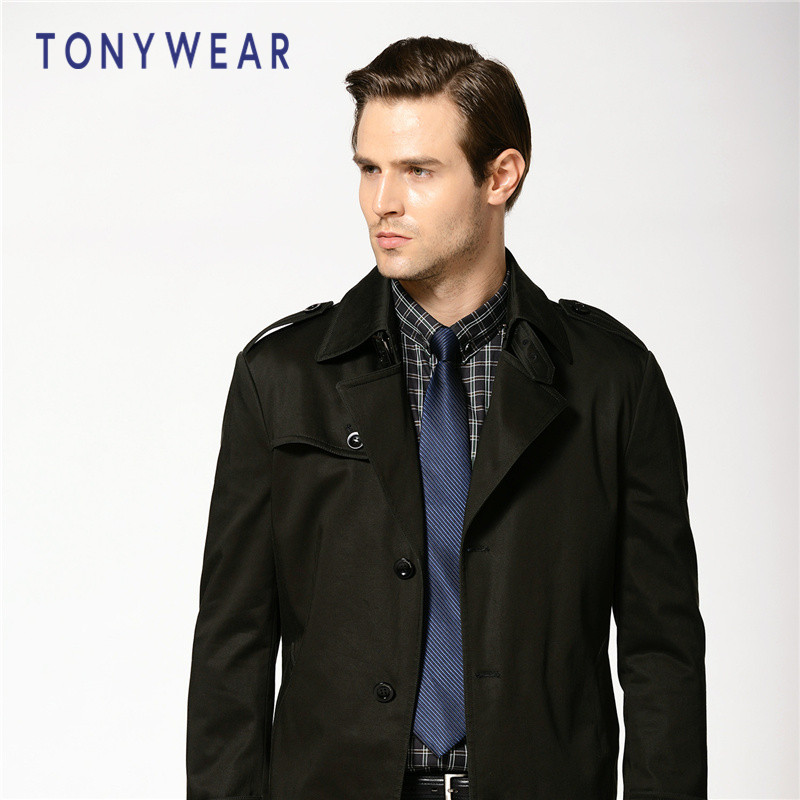 TONY WEAR 汤尼威尔 秋冬海报款 男士商务基本款风衣 天猫优惠券折后¥189包邮(¥489-300)2色可选