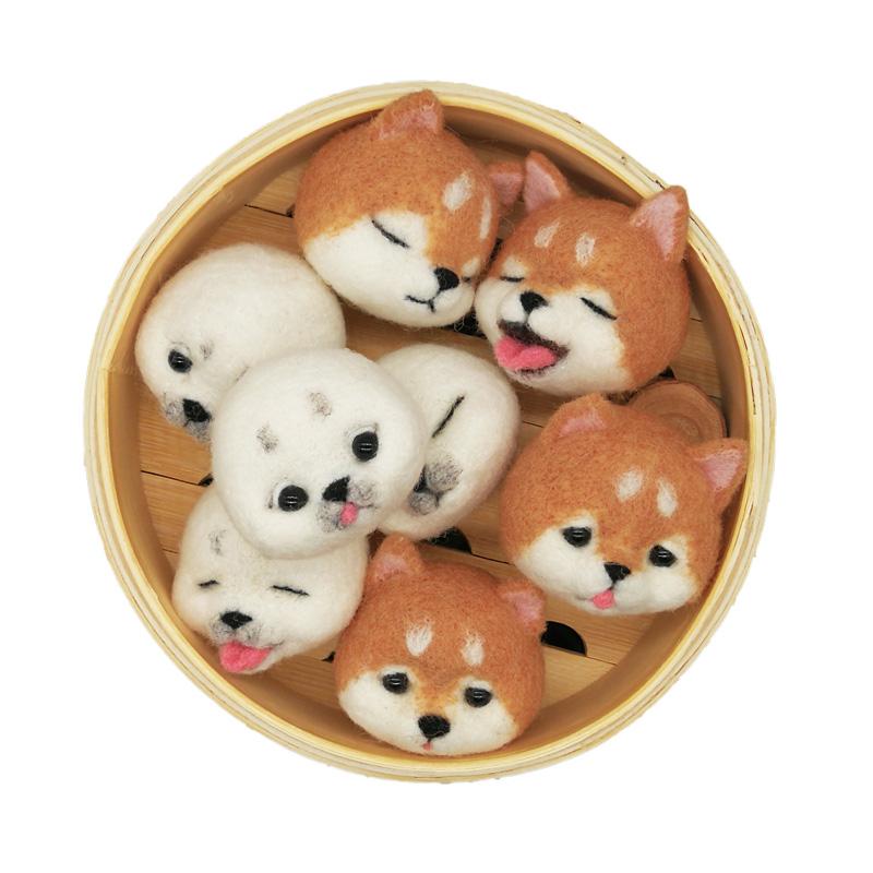 柴犬狗羊毛毡团子布艺DIY礼物