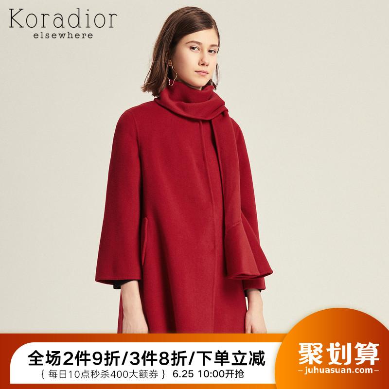 珂思品牌女装韩版2019红色新款毛呢双面呢大衣中长款收腰冬装外套