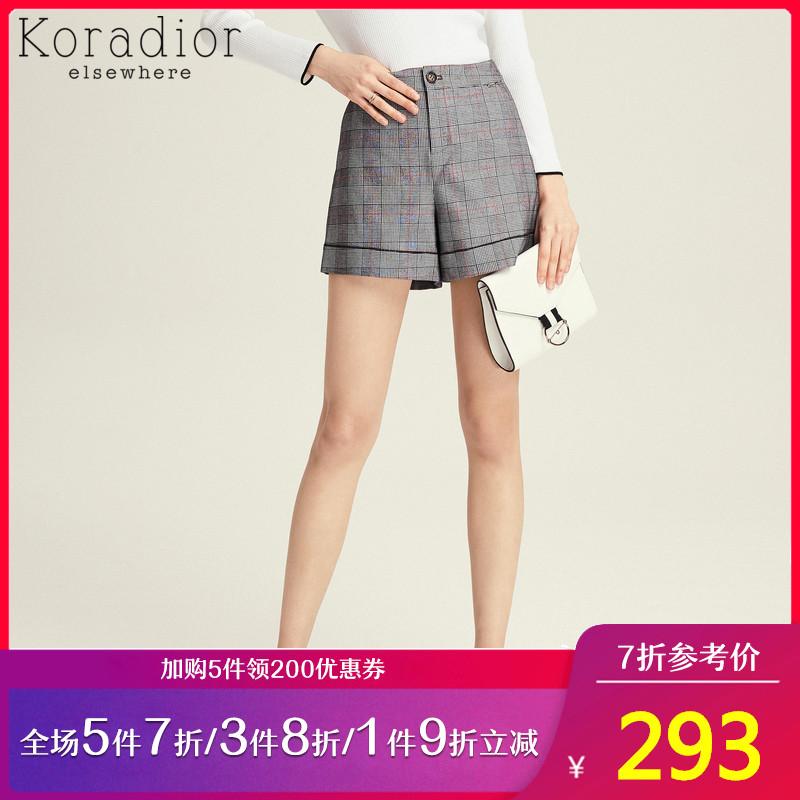 Koradiorelsewhere/珂思品牌女装2019短裤新款格纹v短裤高腰春装