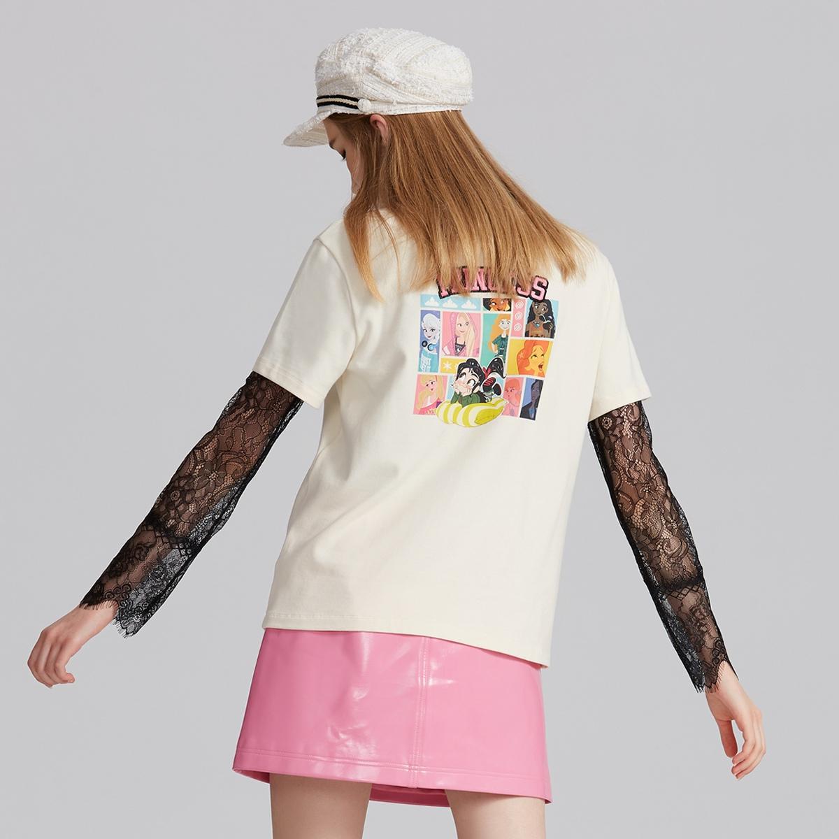 FIVE PLUS女冬装chic字母宽松T恤女短袖刺绣上衣套头圆领棉质