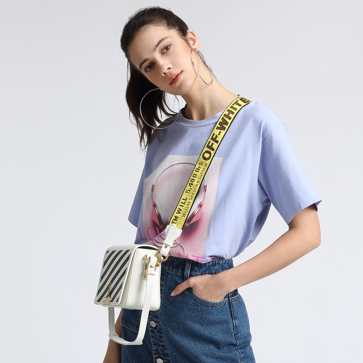 FIVE PLUS女夏装宽松T恤女短袖中长套头衫体恤潮圆领纯棉印花