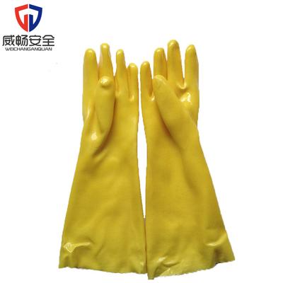 东亚045耐酸碱浸塑手套工业劳保棉毛加长加厚耐磨防护PVC手套