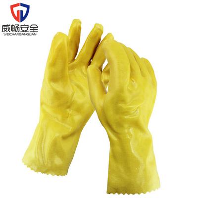 东亚035手套耐油耐酸碱工业劳保作业用浸塑棉毛手套黄色浸胶PVC