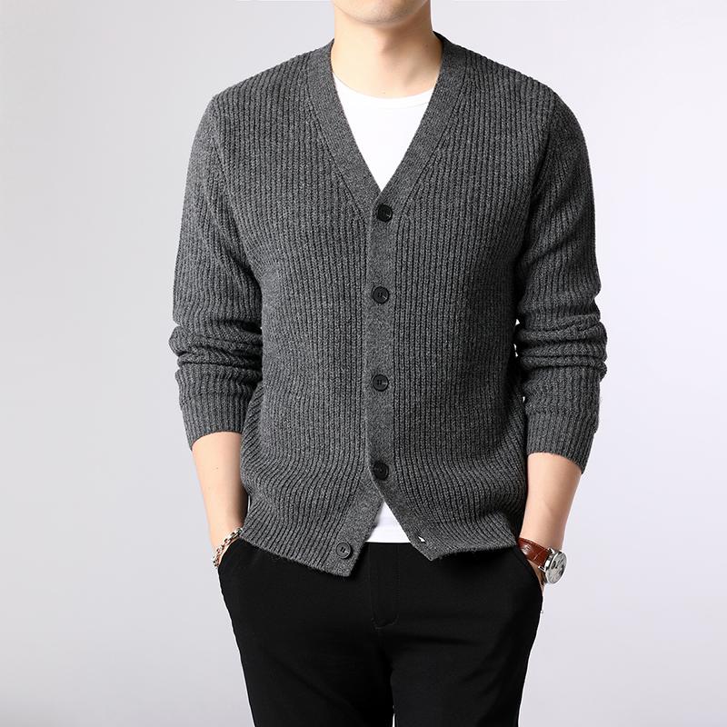 Áo len nam mùa thu cardigan trẻ trung cổ chữ V màu dệt kim hoang dã áo len xu hướng mới áo len dày - Cặp đôi áo len
