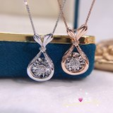 18k gold luxury group diamond pendant mermaid tail necklace fashion female clavicle chain for girlfriend gift